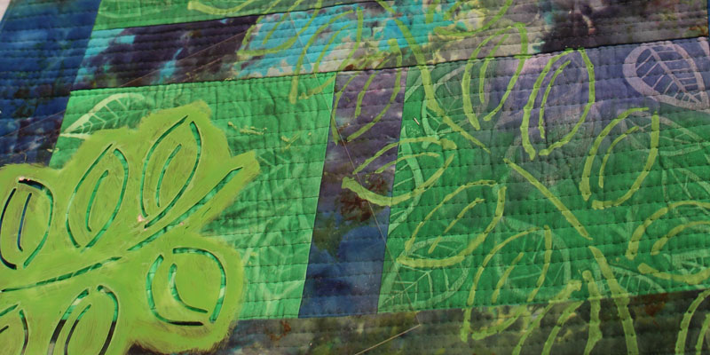 Art quilt using stencils by Lisa Chin