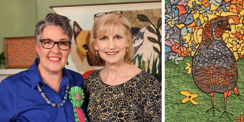 Susan Brubaker Knapp and her guest on the set of Quilting Arts TV