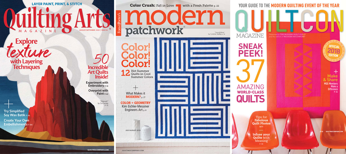 Cover images of Quilting Arts, Modern Patchwork, and QuiltCon Magazines