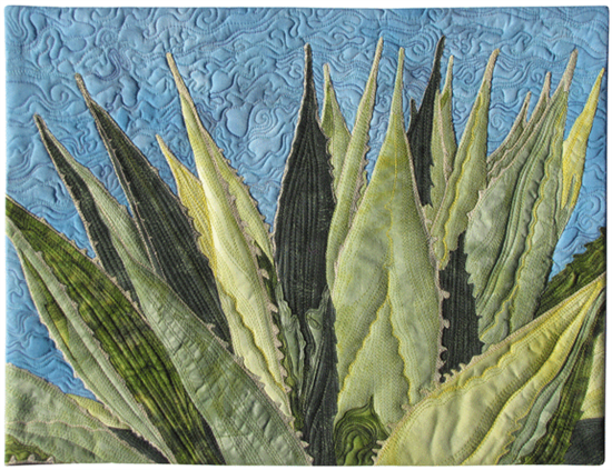 agave quilt with thread sketching by susan brubaker knapp