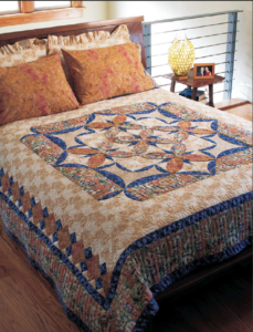 Bed-sized Asian quilt pattern