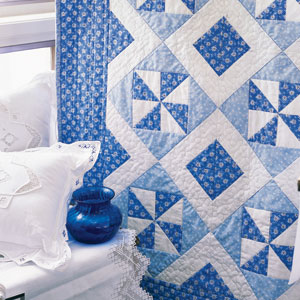 Blue Breeze Fast Two Color Lap Quilt Pattern The
