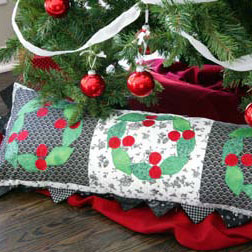 Checkerboard Cherries: FREE Christmas Wreath Quilted Bolster Pillow Pattern