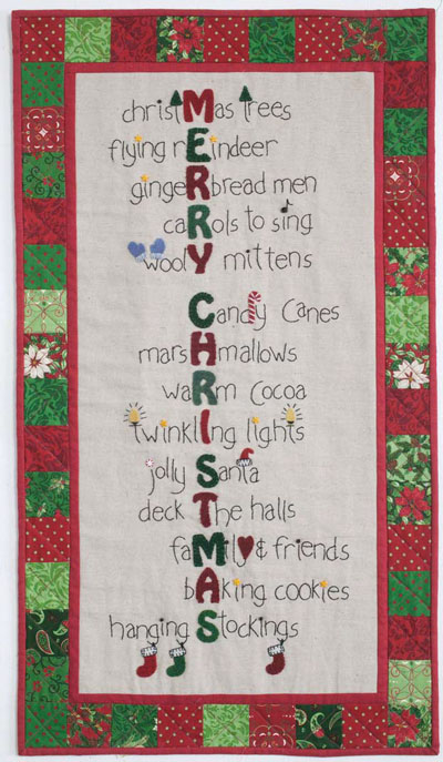 Christmas Stitches quilt Wool Applique Tutorial + Project Ideas