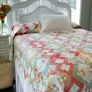 Corner candy shop fat quarter friendly bed quilt pattern for Bed quilting designs