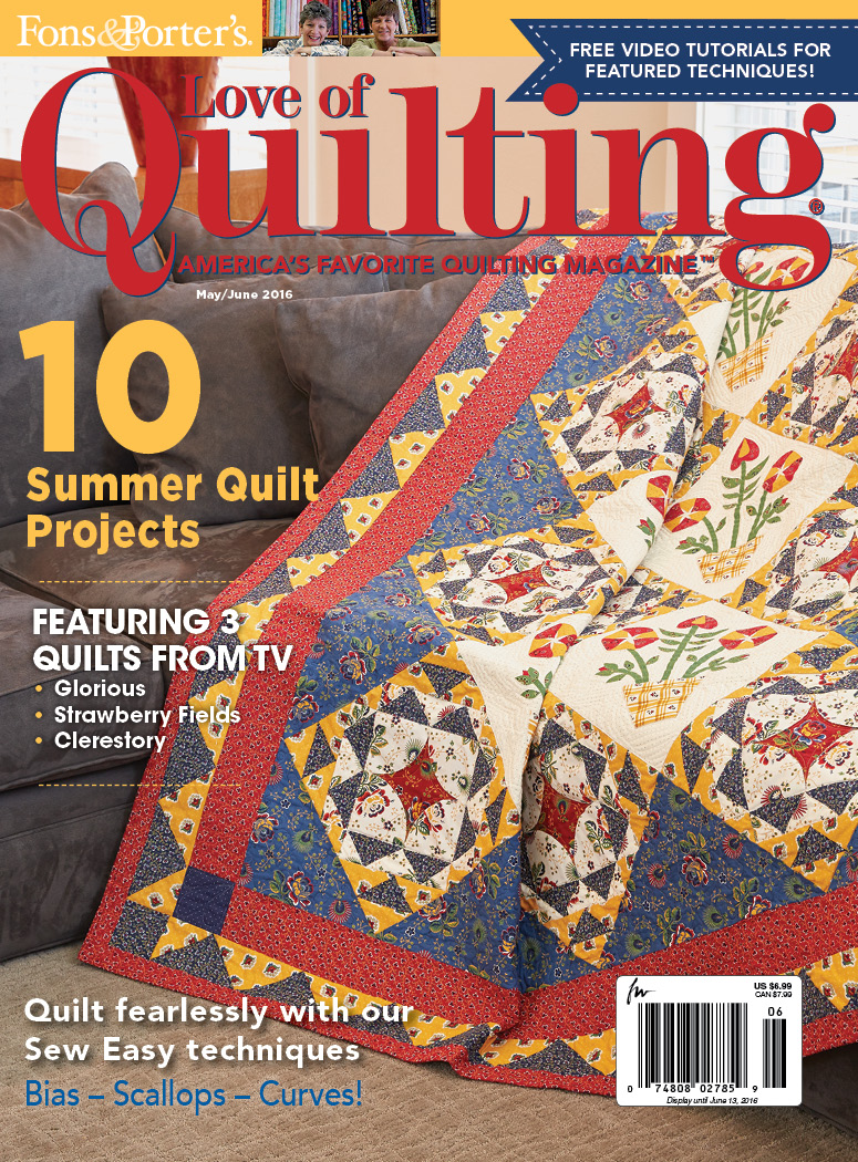 Pattern corrections fons porter the quilting company love of quilting mayjune 2016 fandeluxe Choice Image