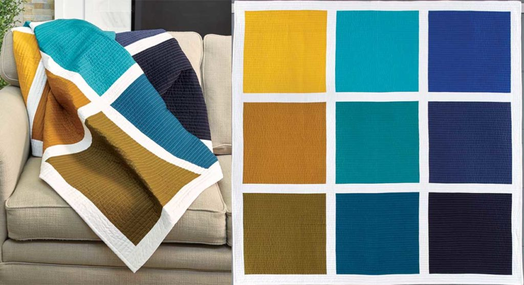 Make a gorgeous modern quilt with 9 fat quarters and some sashing