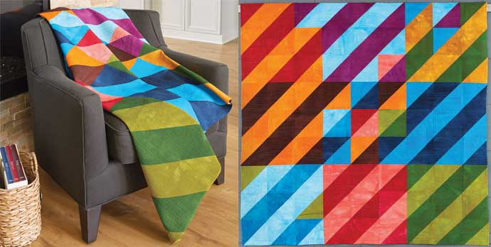 Half-square Triangle blocks are used to make this bold modern quilt.
