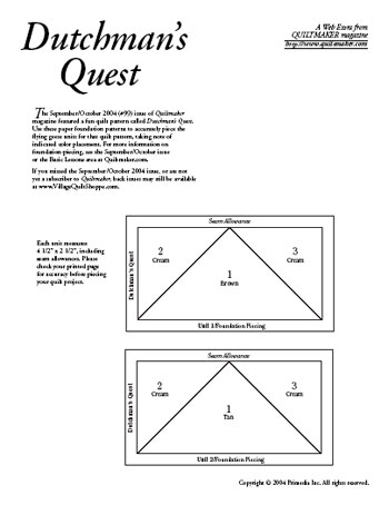 Dutchmans Quest Foundations Archives Quiltmaker The Quilting