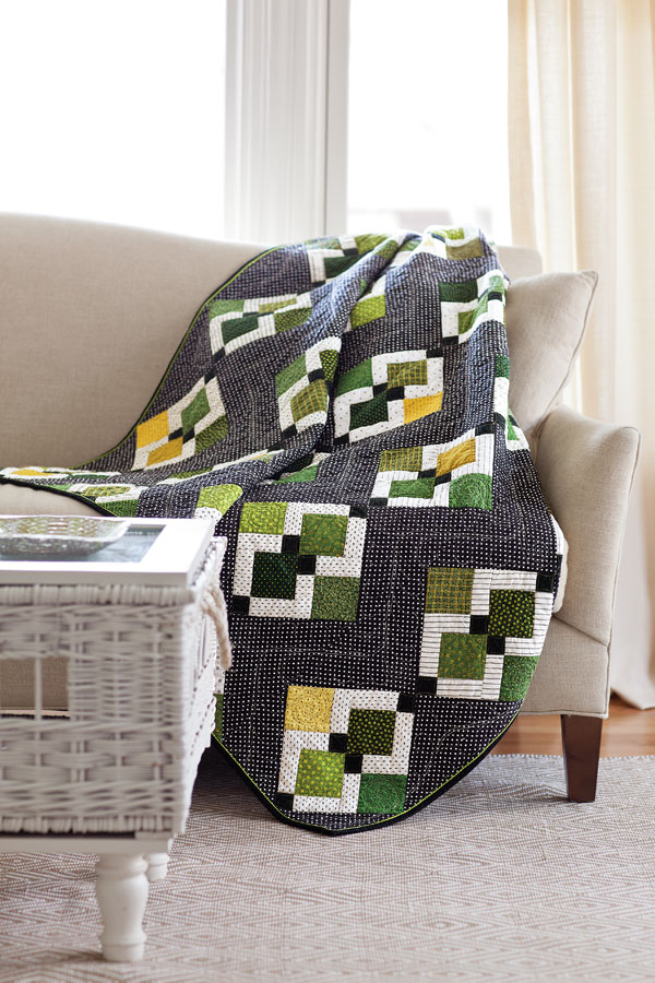 Easy Being Green, an example of a nine-patch quilt pattern by Kristine Peterson