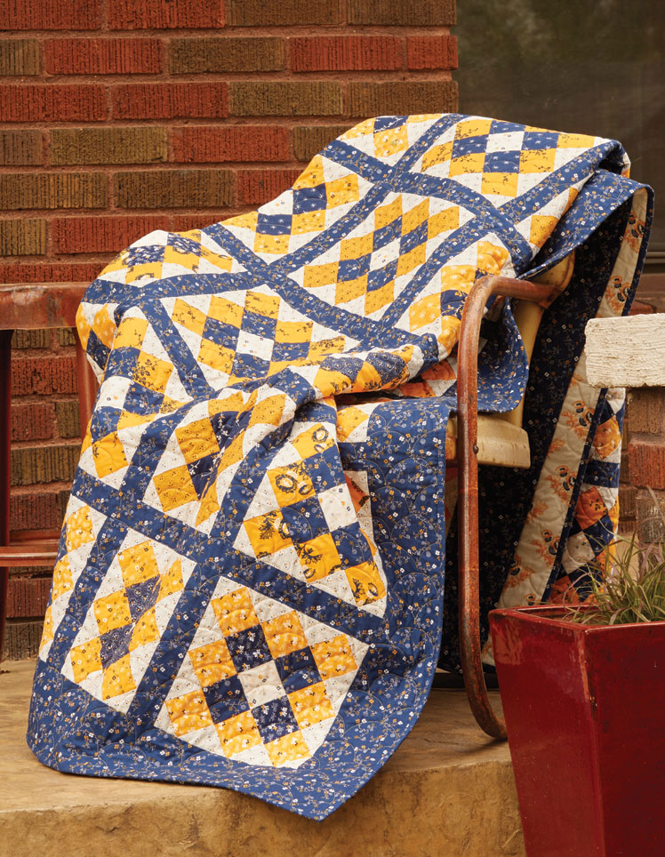 """The Grandmothers Album quilt pattern finishes 76"""" x 86"""", nice for a full (double) size bed."""