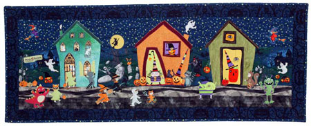 HalloweenStreet 450 Scrap Bag: Graveyard Quilt exhibit, free coffin quilt block, literal leaf quilts, and more
