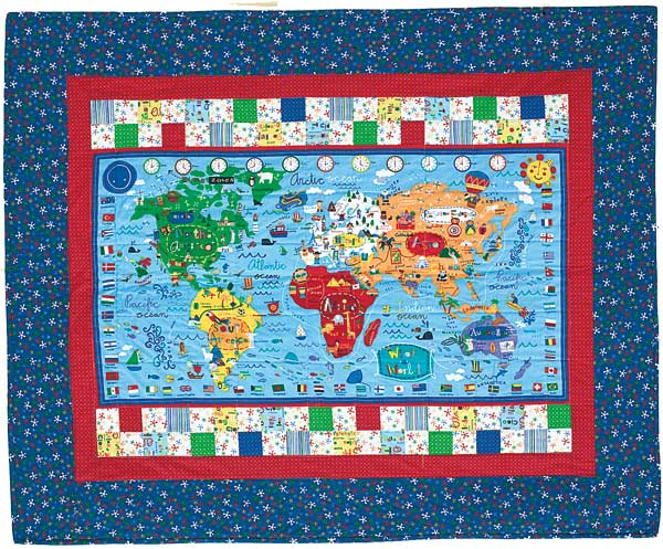 Its a kids world reversible map and city block quilt for its a kids world map gumiabroncs Gallery