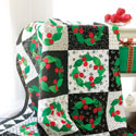 Checkerboard Cherries + FREE Christmas Wreath Quilted Bolster Pillow Pattern