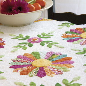 Miss Kyra: Bright Floral Dresden Plate Appliqué Wall Quilt Pattern