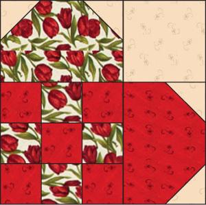 Nine-Patch Heart Quilt Block