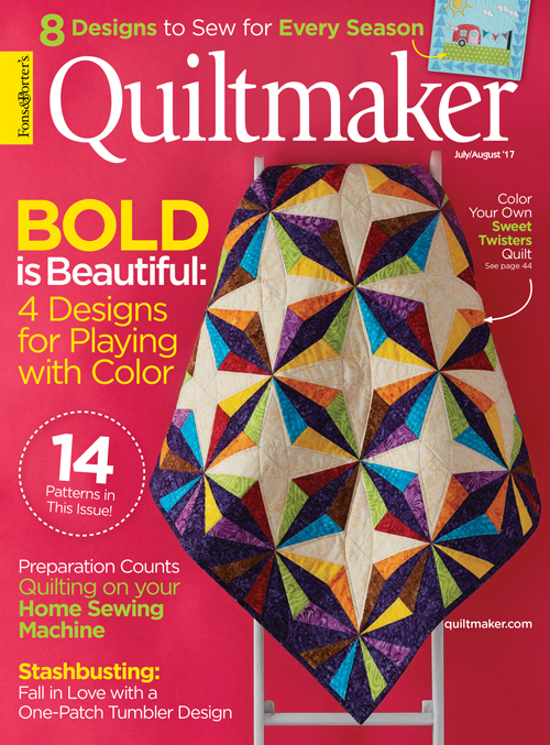 QM1708 COVER 500 New Issue: Quiltmaker July/August 17