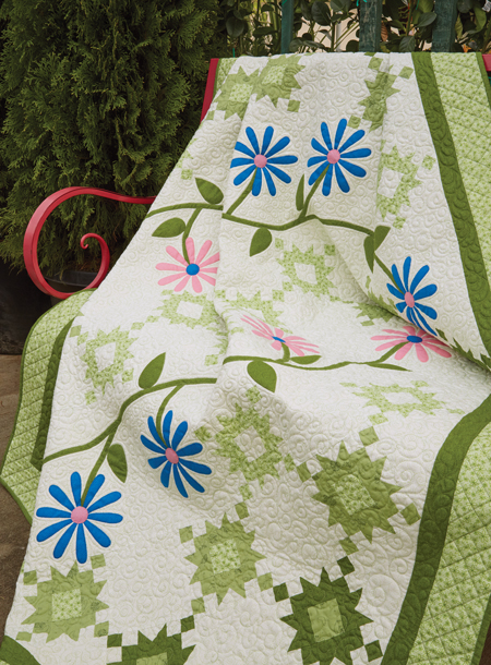 QM1708 GARDEN 450style New Issue: Quiltmaker July/August 17
