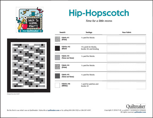 QM Back to School chartnewopt Back to School: Hip Hopscotch Quilt