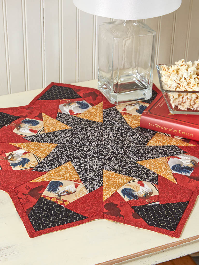 rooster parade table topper quilt pattern the quilting company. Black Bedroom Furniture Sets. Home Design Ideas