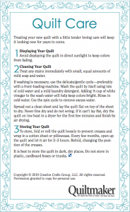 Quilt Care Label - Quiltmaker