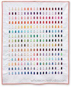 Modern quilt featuring all 270 Aurifil thread colors.