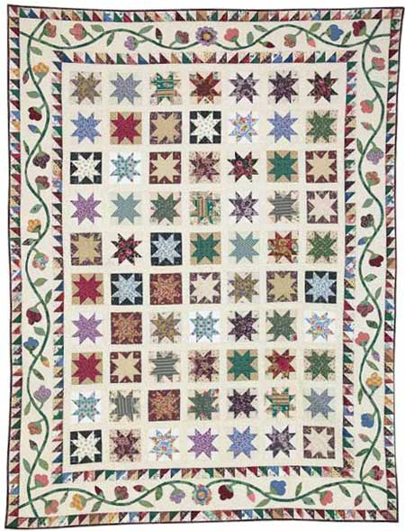 Stars in my Garden by Toby Preston Friday Free Quilt Patterns: Stars in My Garden Scrappy Lap Quilt Pattern