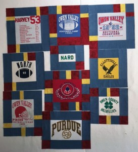 T ShirtQuiltBlocks 273x300 T Shirt Quilts: Pieces from the past and the comfort of home.