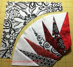 Waterwheels w BG piece 300x277 Paper Piecing with Debby Kratovil