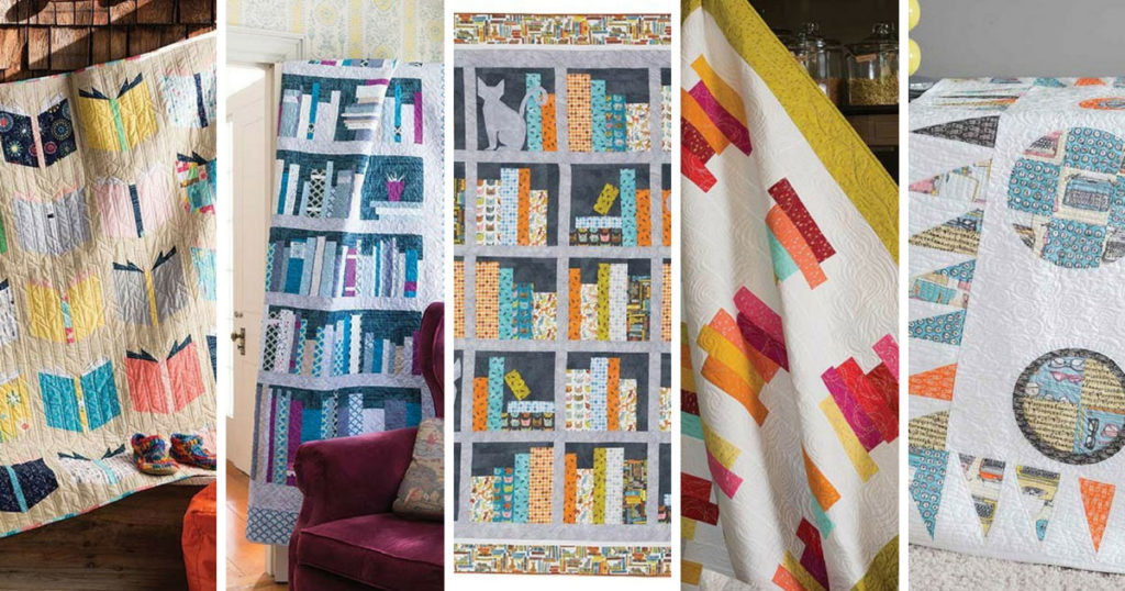Five modern quilts featuring book inspired blocks