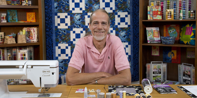 Eric Drexler on the set of Fearless Free-Motion Quilting
