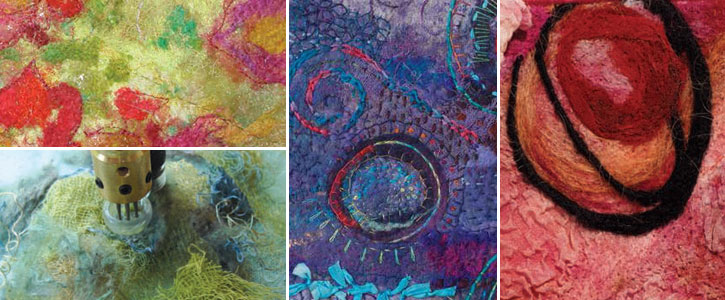 Learn how to needle felt using machine techniques to create quilt elements like these.