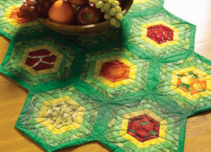 Free quilting with hexagons: Just Picked pattern
