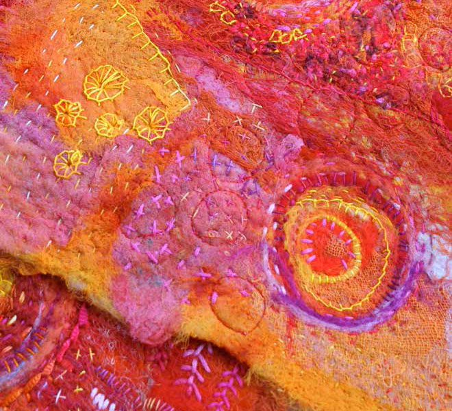 Free needle felting instructions to create quilts like this.