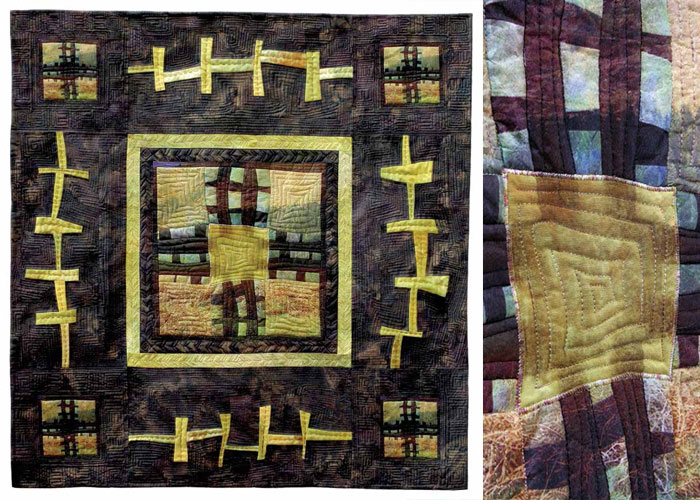 This landscape picture quilt features squares of an ancient Stone Age ruin to create the texture and pattern. Learn how to make photo quilts with your favorite pictures and images with the free tutorial.
