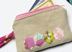 Sewing Techniques Article: Linen Coin Purse with Hexagons