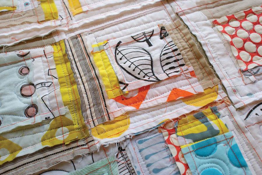 Create this raw edge patchwork quilt, free project!
