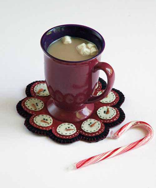 snowman mug rug Wool Applique Tutorial + Project Ideas