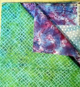 New fabrics! Purple splatter, green weave and our old friend, blue dot.