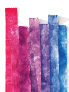 Strips of hand dyed fabric