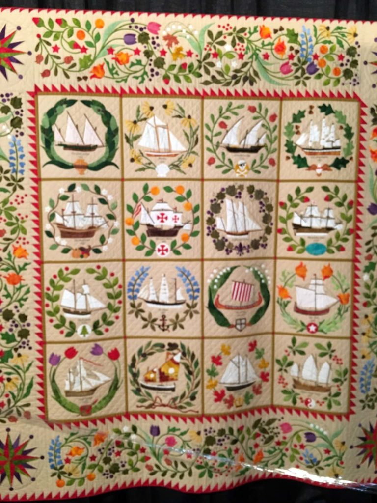 Ladies of the Sea, hand appliqued, quilted and embroidered, machine pieced