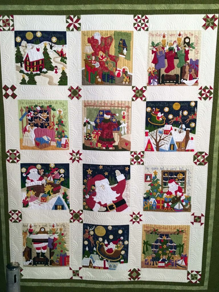 Night Before Christmas, hand appliqued, embroidered and embellished, machine pieced and quilted.