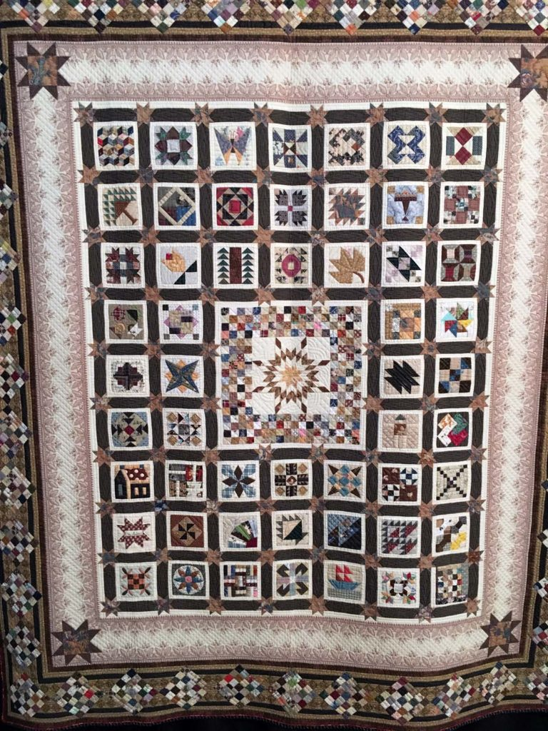 Sampler Quilt, hand pieced and quilted, machine pieced