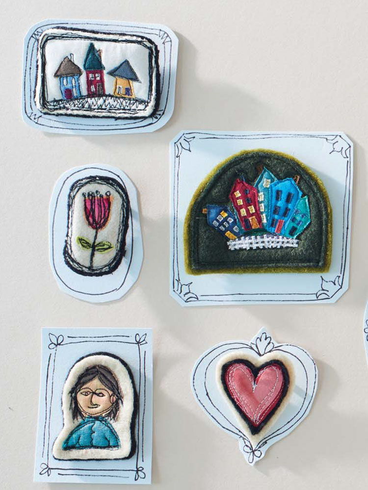 Use small scraps of fabric to make darling portrait pins like these.