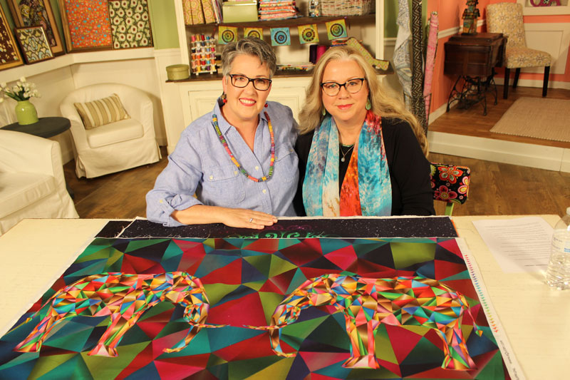 Luana Rubin with Susan Brubaker Knapp on the set of Quilting Arts TV.