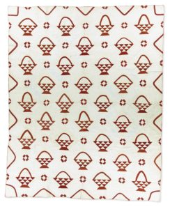 A basket block is common among red and white quilts