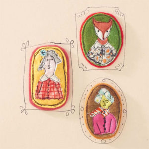 Portrait pins made from fabric scraps