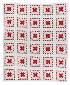 Friendship Chain red and white quilt from 1898