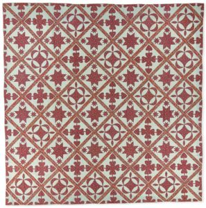 Oak Reel quilt is one of many red and white quilts from the mid 1800s