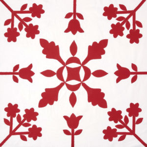 Oak Reel and Flowers block by Linda Pumphrey from Red & White Quilting
